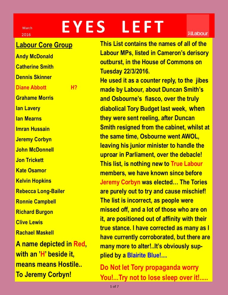 Publication1 Labour Party Loyalty list from Cameron 1 of 7