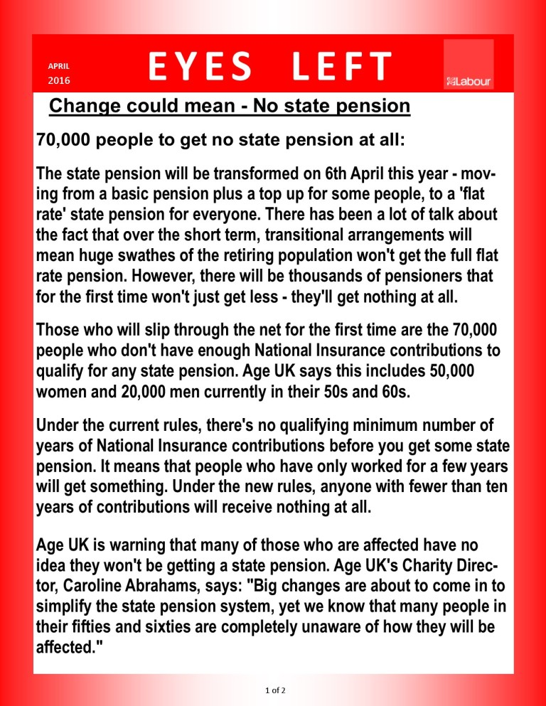 Publication 1   Pension changes 1 of 3