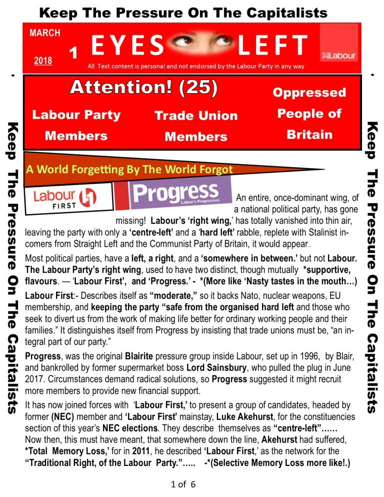Publication 1 Eyes Left Progress and Labour 1 of 6